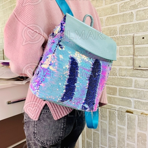 Рюкзак школьный с пайетками меняющий цвет Перламутровый Хамелеон-Фиолетовый А4