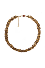 Бисерное ожерелье Facilità из 12 нитей золотисто-коричневое