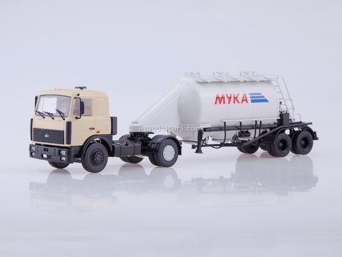 MAZ-5432 beige with semitrailer ASP-25 1:43 AutoHistory