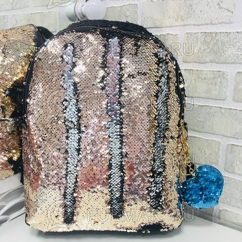 Рюкзак детский с пайетками меняющий цвет Пудровый-Серебристый Большой 37х30х12 см и брелок сердце