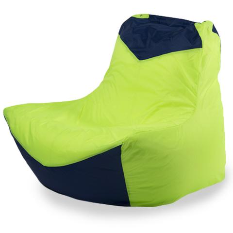 Бескаркасное кресло «Классическое», Лайм и синий