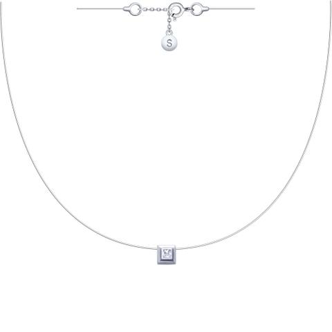 94070150 Ромбик на леске-невидимке с серебряными замочками