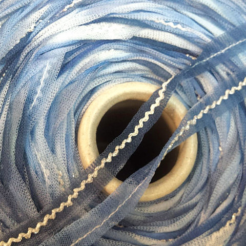 Сетка-ленточка FILATI COLOR / MITO 110 бело-голубой с серебром