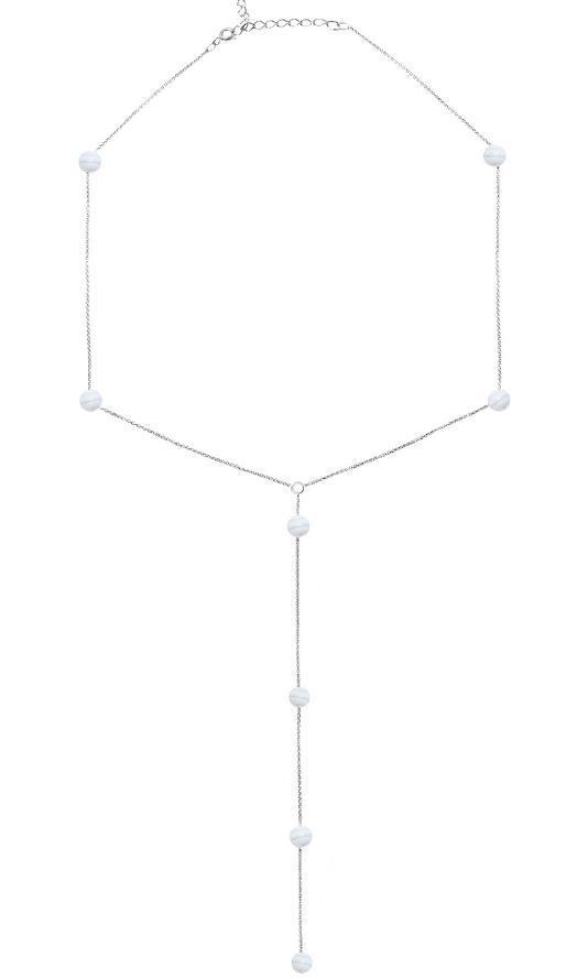 Серебряное колье галстук с сапфирином
