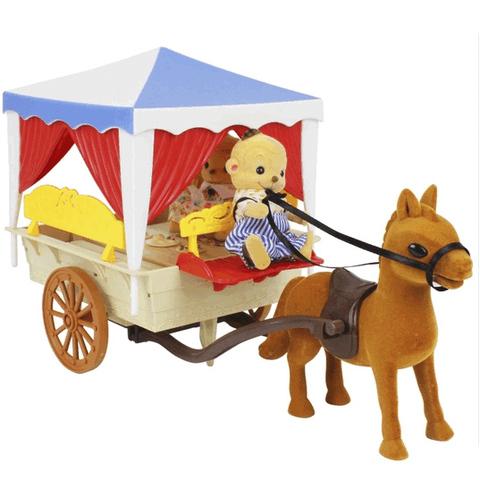 Повозка с лошадкой и семьей обезьянок Happy family 012-06