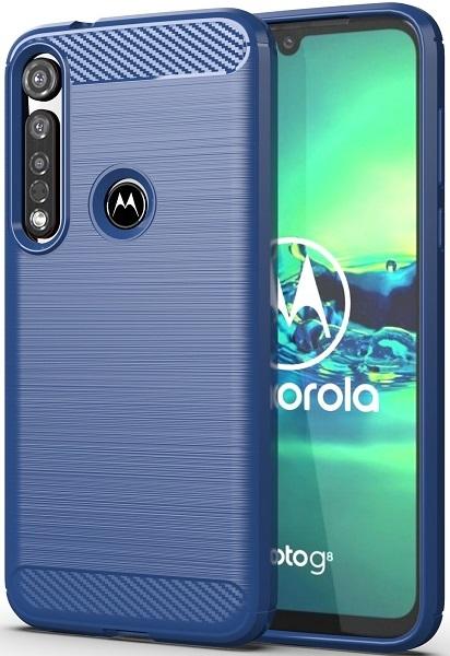 Чехол Motorola Moto G8 plus цвет Blue (синий), серия Carbon, Caseport