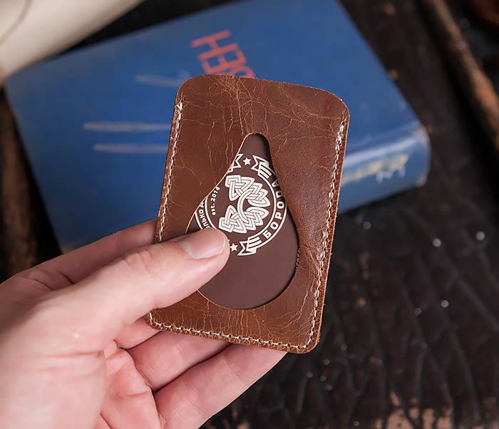 WL248-2 Кожаный коричневый чехол кардхолдер для карточки, абонемента, пропуска фото 03