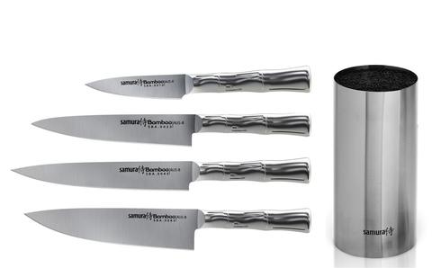 Набор из 4-х ножей Samura Bamboo + подставка (Упакованы индивидуально)