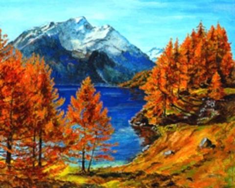 Картина раскраска по номерам 40x50 Вид на гору через осенние краски