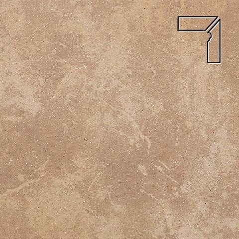 Stroeher - Keraplatte Roccia 835 sandos длина стороны угла 290 артикул 9118 - Плинтус клинкерной ступени правый