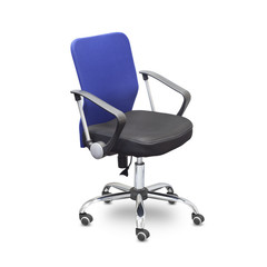 Кресло офисное Easy Chair 203 черное/синее (ткань/сетка/пластик/металл)