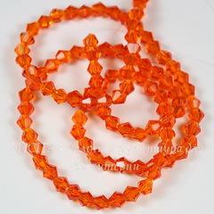 Бусина стеклянная, биконус, цвет - оранжевый, 4 мм, нить