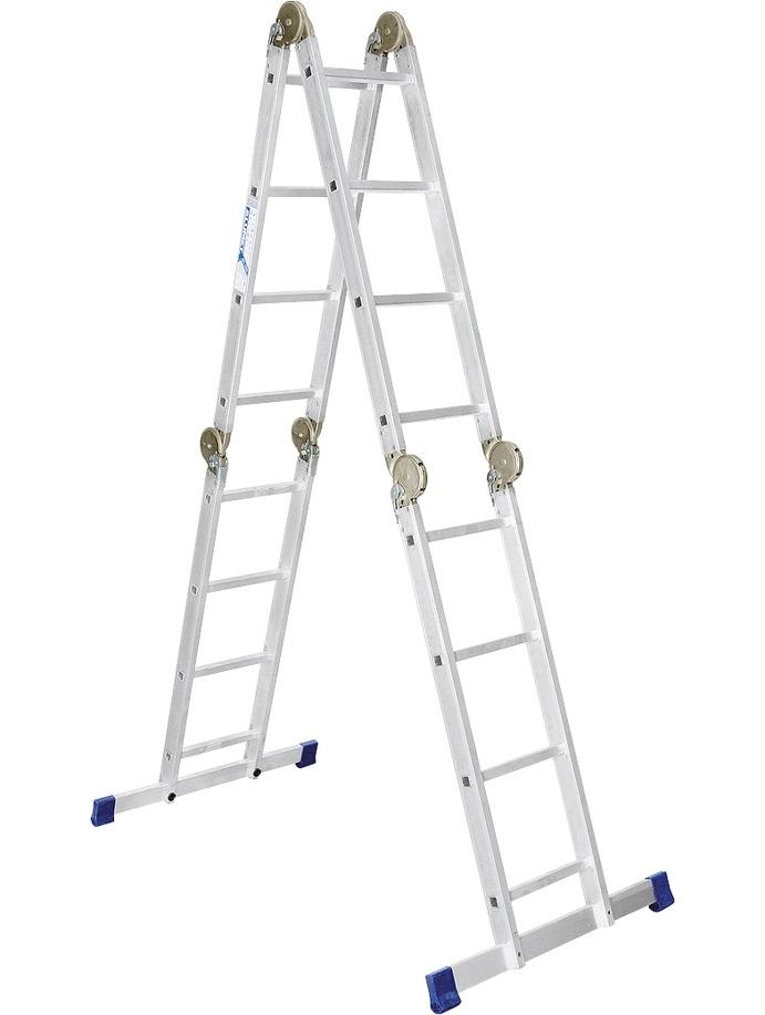 Лестница шарнирная алюминиевая Сибртех 4х4 купить в интернет-магазине Дело Мастера с доставкой, цена, отзывы, фото, инструкция, описание, характеристики, купить в Новосибирске