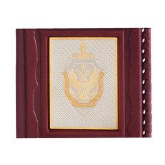 Обложка для паспорта «ФСБ-3» с накладкой покрытой золотом 999 пробы