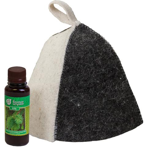 Подарочный Банный набор 2 предмета в пакете ПВХ с крючком (шапка, ароматизатор)
