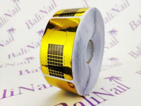Формы для наращивания золотые прямоугольные узкие 500 шт