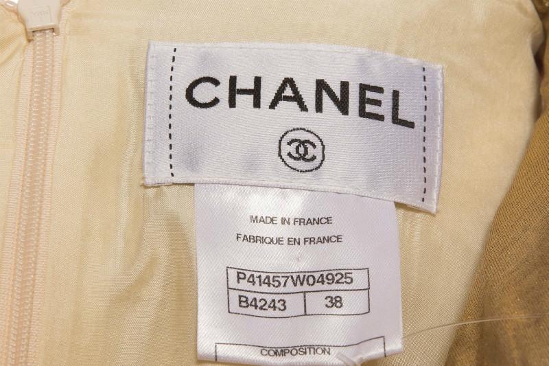 Роскошное платье из твида с золотой парчой из коллекции Paris – Byzantine от Chanel, 38 размер