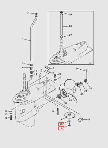 Болт крепления анода с шайбой для лодочного мотора T40 Sea-PRO (24-9/10)