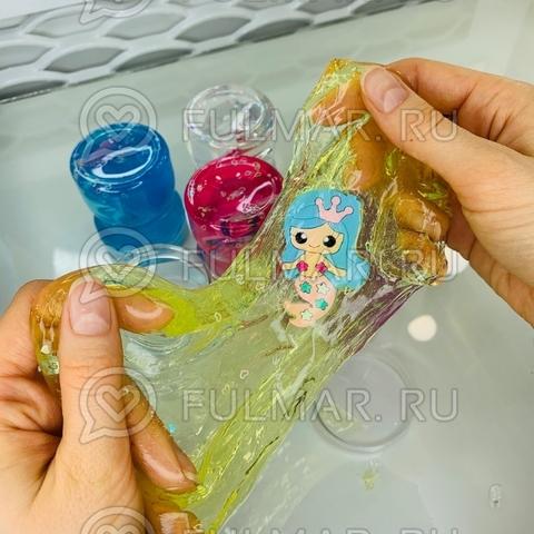 Набор слаймы 6 штук в банке Русалочка и сердечки внутри