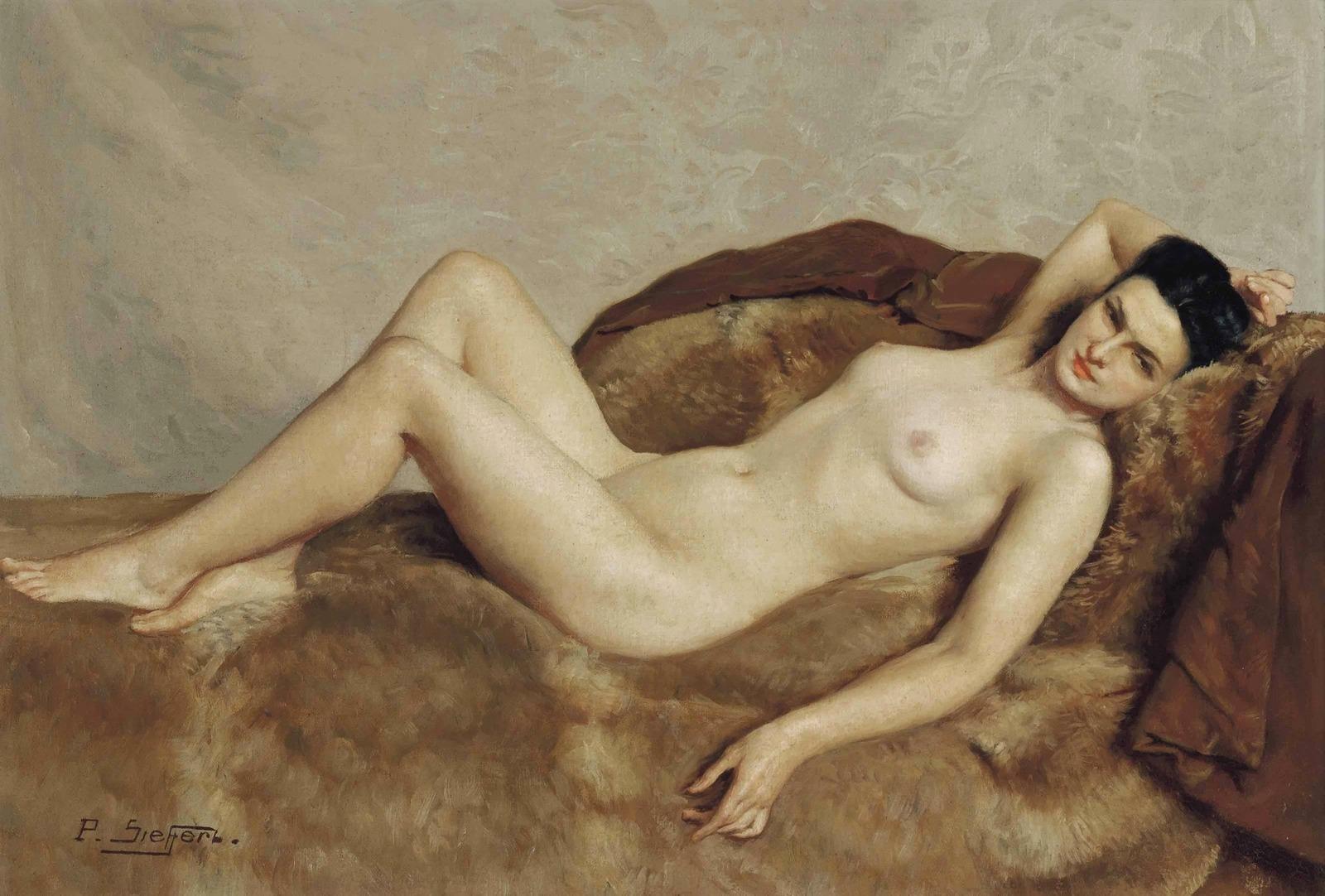 Поль Зиффер. №572. Лежащая обнаженная (Reclining Nude). 38 x 55. Холст, масло. Частное собрание.