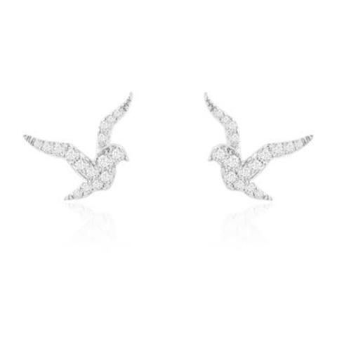 Пусеты птички из серебра в стиле APM Monaco