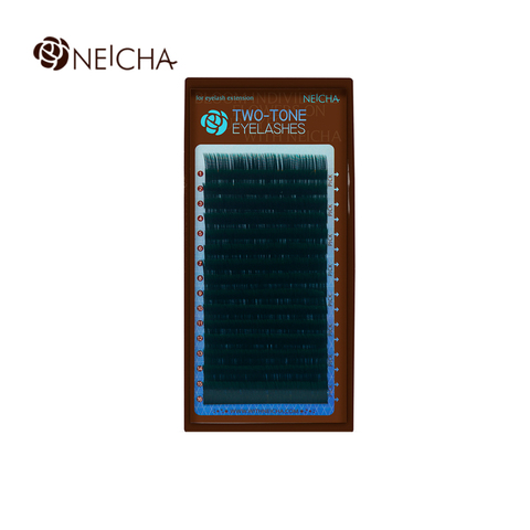 Ресницы NEICHA нейша MIX 16 линий двухцветные черно-зеленые