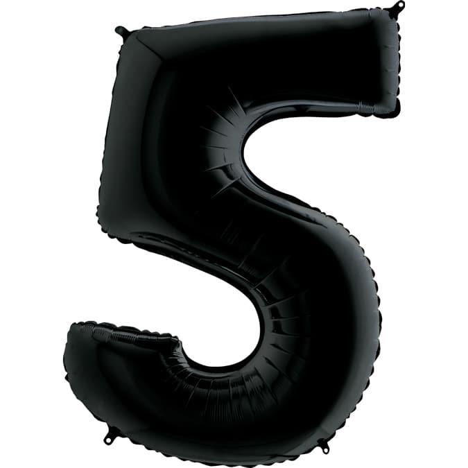 Фольгированная цифра 5, черный