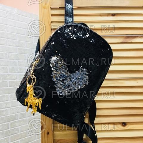 Рюкзак чёрный школьный с пайетками меняющий цвет Чёрный-Серебристый и брелок Единорог