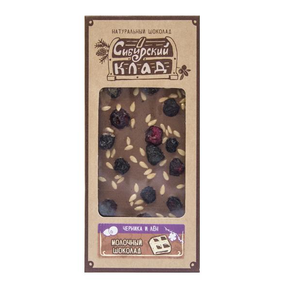Шоколад молочный Черника и лён 30 грамм