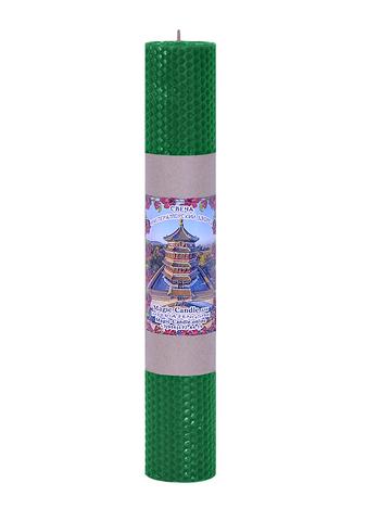 Свеча императорский дворец зеленая 30см