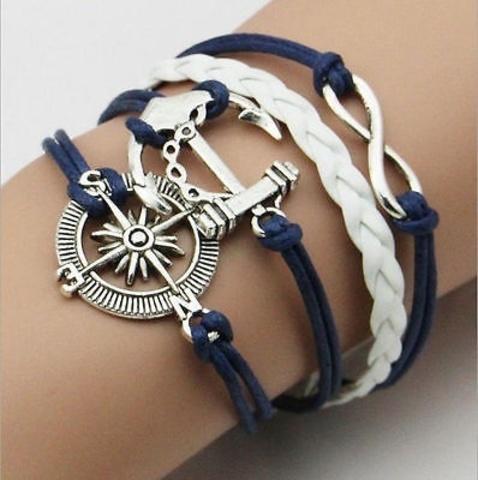 Браслет в морском стиле с компасом и якорем (синий)