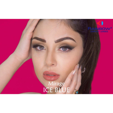 Голубые линзы с окантовкой для карих глаз на 3 мес Rainbow Ice blue / Раинбов