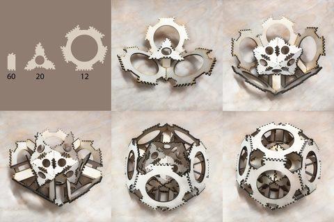 Деревянный конструктор - головоломка Шар многогранник 20см (3D пазлы)