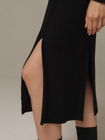 Женская черная юбка с разрезами из шерсти и кашемира - фото 3