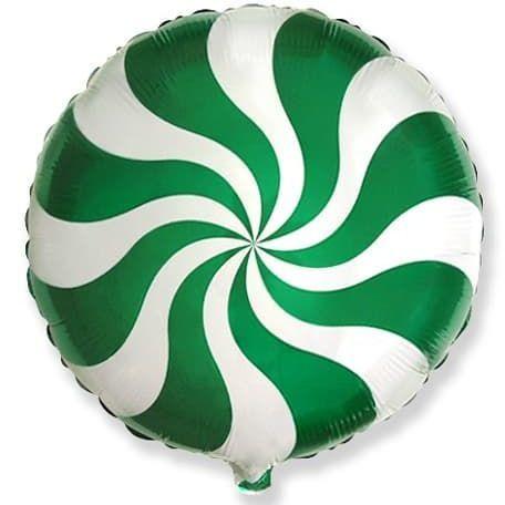 Фольгированный шар круг , леденец, зеленый, 46 см