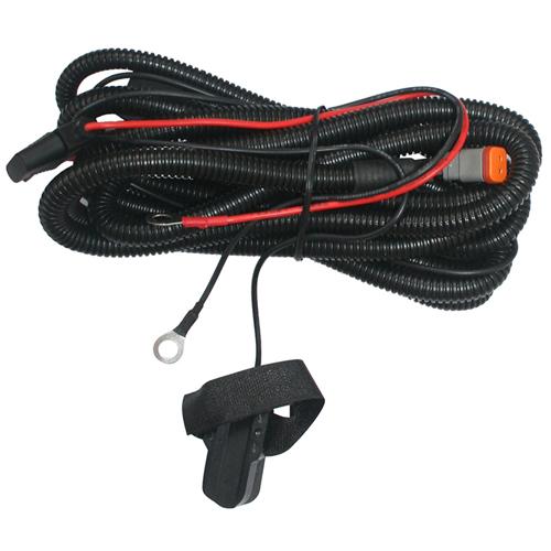 Комплект проводов с разъёмом, герметичной кнопкой, крепёжной лентой, реле, предохранителем ALO-AW5