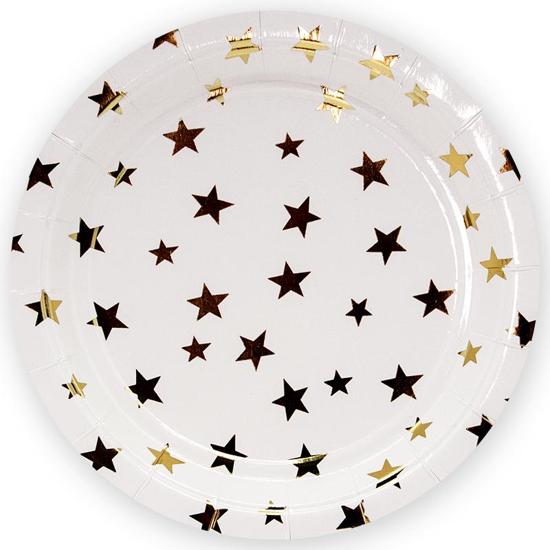 Тарелки 23 см.,Золотые звезды, Белый, 6 шт.