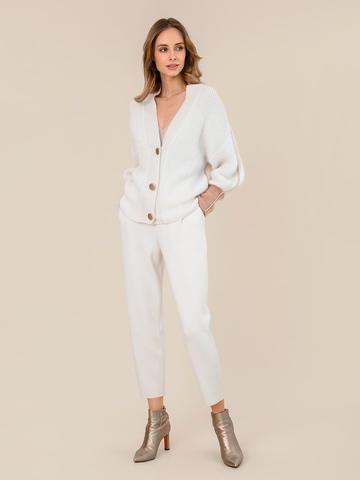Женские брюки молочного цвета из 100% шерсти - фото 6