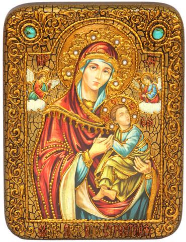 Инкрустированная икона Божией Матери «Страстная» 20х15см на натуральном дереве в подарочной коробке