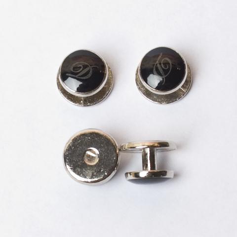 Комплект (пуговицы-запонки) черного цвета (4 штуки)