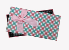 """Коробка """"Деловой"""" с розовым бантом / прямоугольник / 21,3*10,7*3,3 см /"""