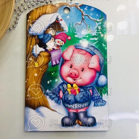 Доска разделочная деревянная Новогодняя декоративная Свинка Милашка