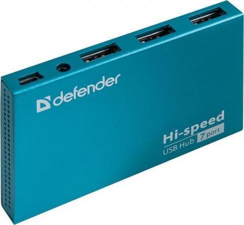 Концентратор USB 2.0 DEFENDER SEPTIMA SLIM 7 x USB 2.0 синий 83505