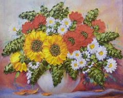 Картина раскраска по номерам 30x40 Букет и много зелени в круглой белой вазе