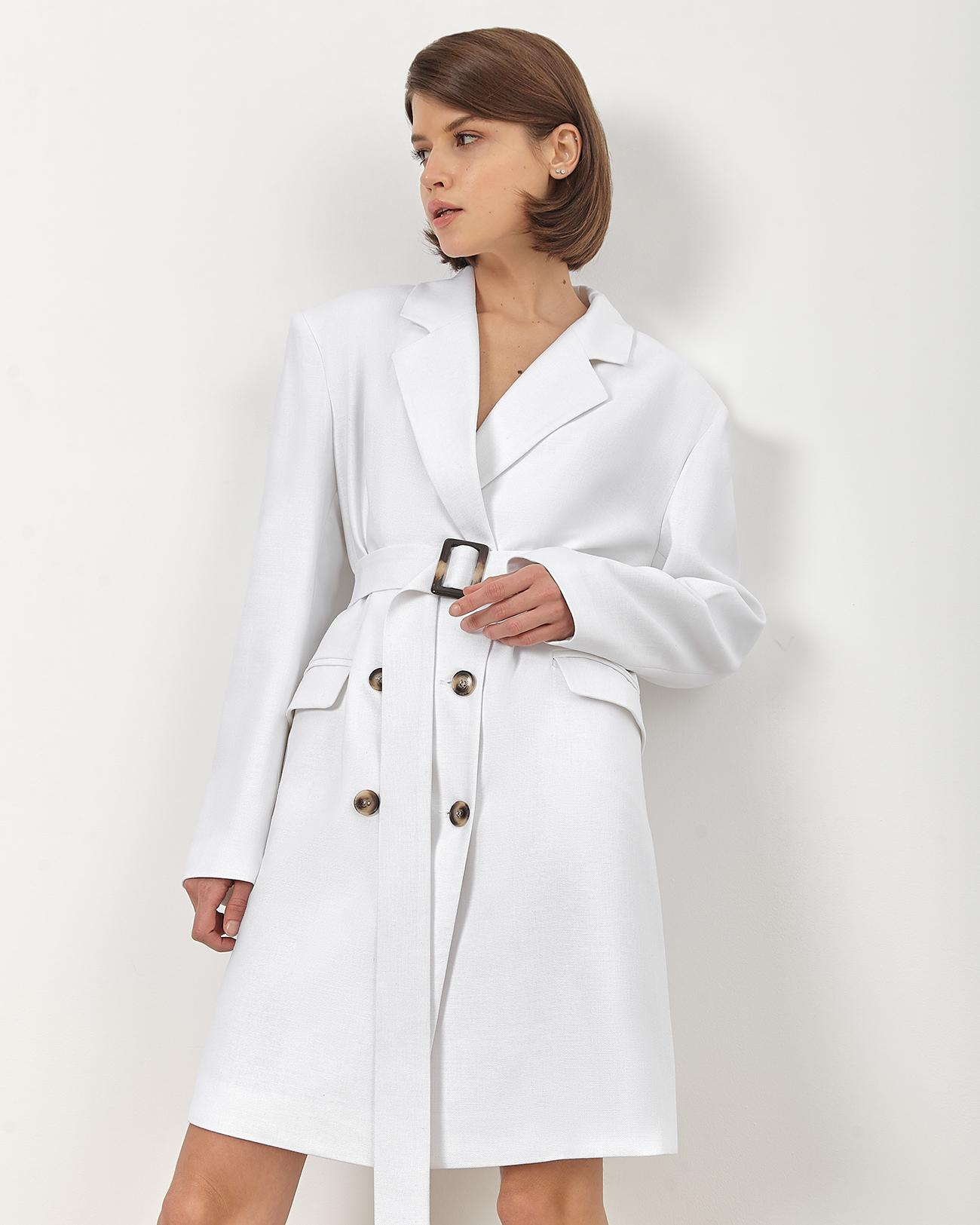 Платье-жакет изо льна белого цвета фото