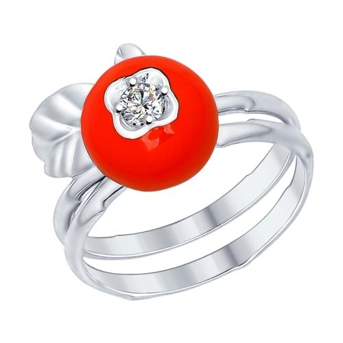 Кольцо из серебра с эмалью с фианитом