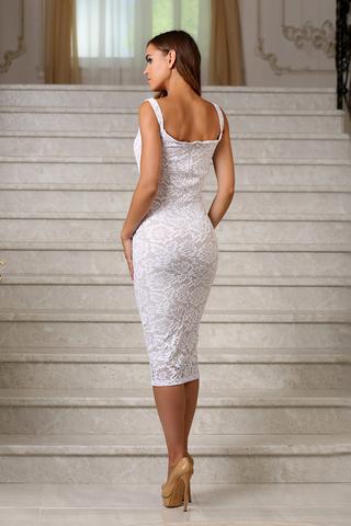 Кружевное платье миди на бретелях, белое 1