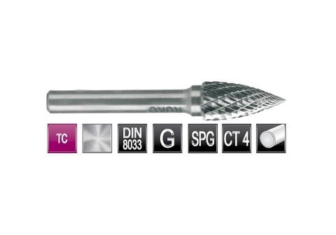 Бор-фреза твердосплавная G(SPG) 6,0х18x6x58мм HM Ruko 116025