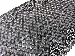 Эластичное кружево, черное с серебристыми ромбами, 23см (Артикул: EK-1021), м