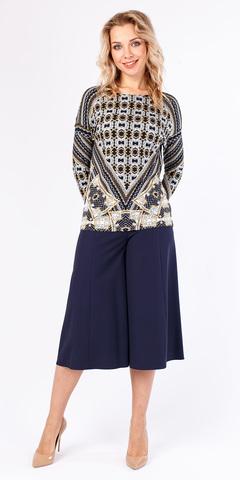 Фото синяя юбка-брюки длиной до середины икры с расклешенными штанинами - Брюки А431-394 (1)